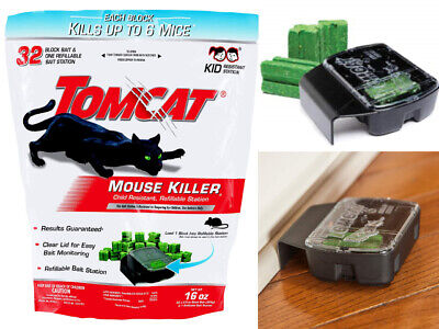 Tomcat Mouse Mice Rat Killer 32 Blocks Bait Poison Rodent Station Trap Control