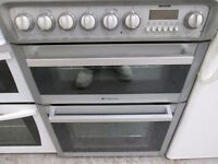 💥SILVER/GREY HOTPOINT 60 CMS HOTPOINT SOLARGLO DUAL ZONE CERAMIC GLASS TOP COOKER💥