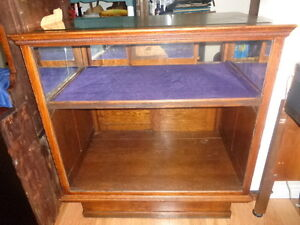 Antique (Victorian) Solid Oak & Glass Display Cabinet