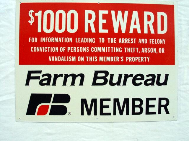 ANTIQUE FARM BUREAU MEMBER REWARD SIGN - NEW OLD STOCK - GREAT CONDITION