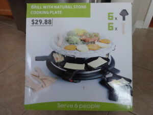 Raclette Grill with Natural Stone Cooking Plate - New