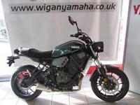 YAMAHA XSR700 ABS 35kW A2 LICENCE COMPATIBLE. GREEN OR SILVER GREY.