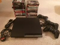 PS3 250Gb slim, many games, Driving force GT wheel, Guitar Hero kit