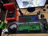 gaming keyboard/mouse/monitor/headsets/camera/mic/controller