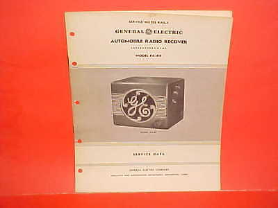 1937 GENERAL ELECTRIC GE AUTO CAR RADIO SERVICE DATA SHOP MANUAL BROCHURE FA-80