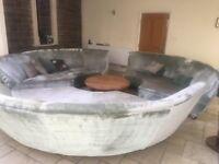 Unique 3 piece sofa set that forms a circle in sage velvet