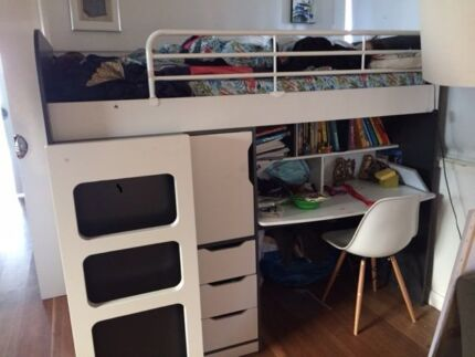 Kids Bed with Drawers and Desk - Harvey Norman Marks Point Lake Macquarie Area Preview