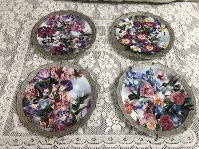 Set of 4 - Whispering Wings - Janene Grende - Collector Plates - Hummingbirds