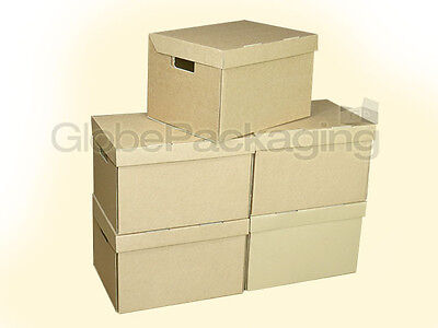 5 x STRONG A4 FILING ARCHIVE STORAGE REMOVAL CARDBOARD BOXES WITH HANDLES 24HRS