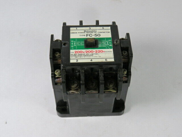Matsushita BMF6-50-2 Magnetic Contactor Type FC-50 200/220V 50/60Hz  USED