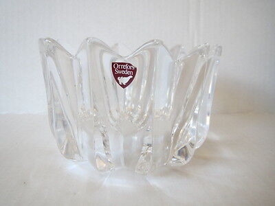 ORREFORS Heavy Weight CLASSIC Crystal Fluted Bowl Dish Sweden SIGNED Red Label