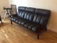 Leather Sofa with mahogany wood
