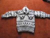 DRASTICALLY REDUCED HANDKNIT COWICHIN WOOL SWEATER EXCELLENT