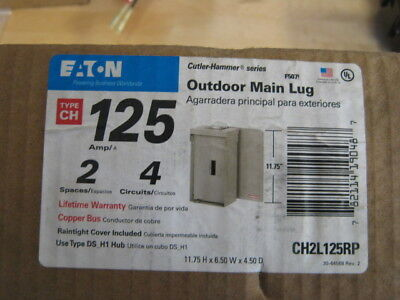 Eaton Ch2l125rp 125 Amp 2 Circuit Outdoor Main Lug Load Center