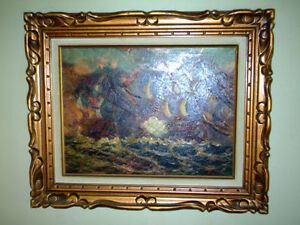 SIGNED - Vasselli - Nautical Ship Paintings - Oil - Wood Frames