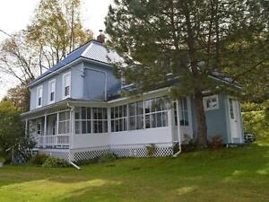 1890's FARMHOUSE FOR SALE w/ 10 acres + Barn + River + Views