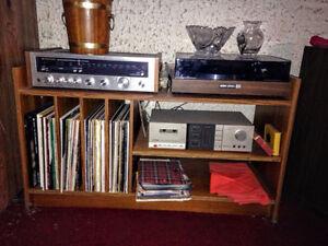 Meuble pour Stereo et Disques Vinyls Mid Century en TECK