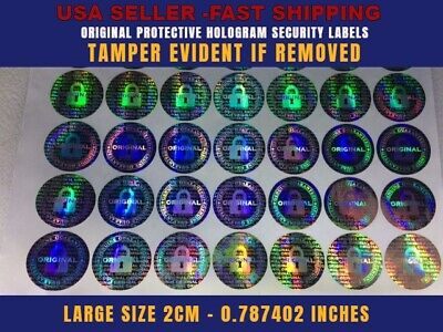 100 Round Hologram Authentic Void Security Labels Stickers Seals Large Size