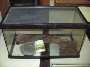 10 gallon terrarium w/ sliding mesh lid and accessories for sale