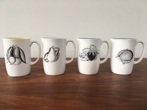 Susie Cooper Black Fruit Mugs