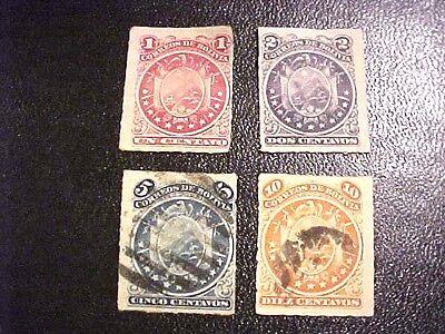 SCARCE Bolivia 1887 4 Canc/H Postage Stamps SC24-27 1, 2, 5, 10 centavos H276