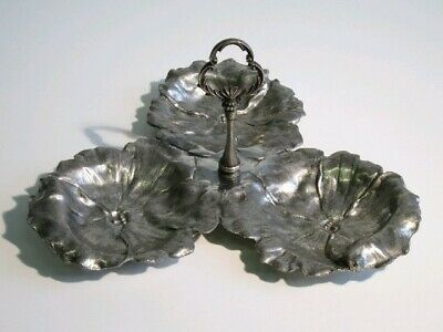 Vintage Trash Can A 3 Blossom Holder Peanut IN Pewter Period Xx Century