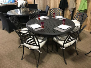 "LIMITED STOCK!!  60"" Round Aluminum Patio Furniture Dining Set"
