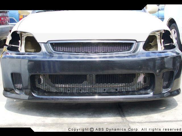 1999 2000 Honda Civic Airwalker N1 Bys Front Bumper Frp W/ Carbon Fiber Lip