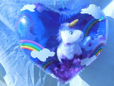 Heart Shaped Inflate Blowup With Hanging Stuffed Unicorn Inside -Love You Gift