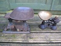 Vintage Kitchen Scales (x2) and Weights