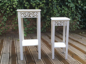 Pair of lovely shabby chic white plant stands - reduced £90