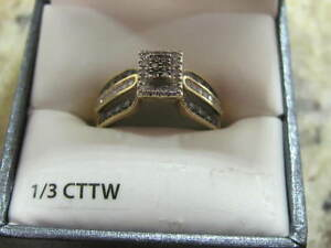 RING  10K GOLD 1/3 CTTW CHAMPAGNE & WHITE DIAMONDS $350.