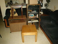 End table, Coffee Table, TV Stand, Large Stereo Cabinet $20.
