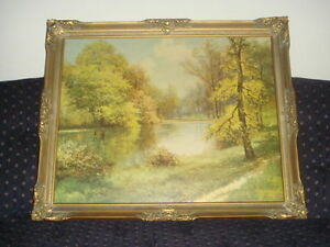PATH OF GOLD by Robert Wood Vintage signed art print painting