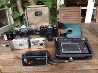 Mixed Box of old cameras, SLR / Polaroid / point & shoot, etc.