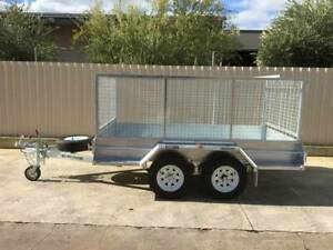 10X5 COMMERCIAL GALVANSIED TANDEM TRAILER WITH BRAKES CAGE AND RAMPS Pooraka Salisbury Area Preview