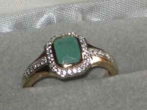 Sterling Silver Gold Plated Emerald Ring Size 11.5 Appraised