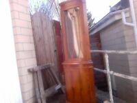 yew wood veneered corner unit with light