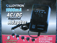 AC DC regulated power supply adapter 1000mA with 6 plugs