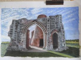 St Benets Abbey Norfolk Broads in acrylic