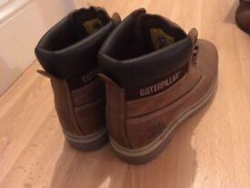 Size 10 CAT boots. Tan colour.