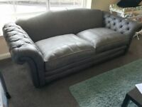 Loch Leven Leather: Grand Sofa x 1 ( CHARCOAL) DFS COUNTRY RANGE (BRAND NEW)