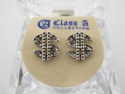 Money Sign $ Silver Tone CZ Stud Hip Hop Bling Earrings