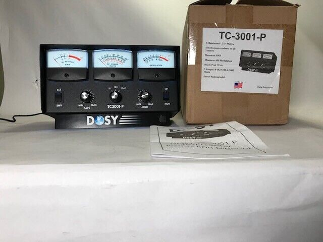 DOSY TC3001-P 3 FACE METER 1000 Watt SWR WITH BLUE LIT Meters CB Power FREE SHIP