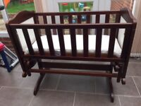 Mahogany Gliding Crib / Cot - Very Good Condition / Hardly Used