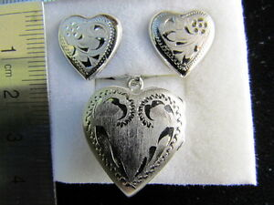 Earrings and Heart Locket - Rhodium-plated Sterling Silver