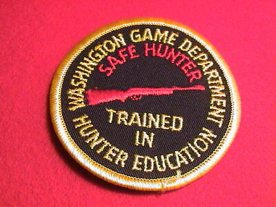 WASHINGTON GAME DEPT. SAFE HUNTER TRAINED IN HUNTER EDUCATION GUN HUNTING PATCH