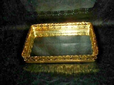 Gold Tone Mirrored Ornate Dresser Tray - , Rectangle 8