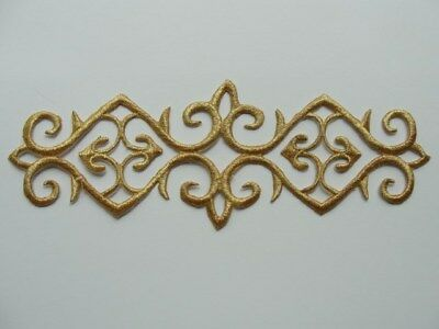 Metallic Scroll (Gold Metallic Scroll Rectangle Costume Iron On Embroidered Patch 7.25 Type A)
