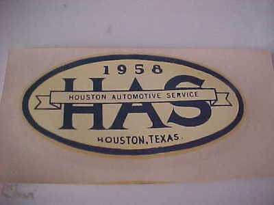 Vintage Water - Vintage Water Slide Decal 1958 HAS Houston Automotive Service Houston Tex